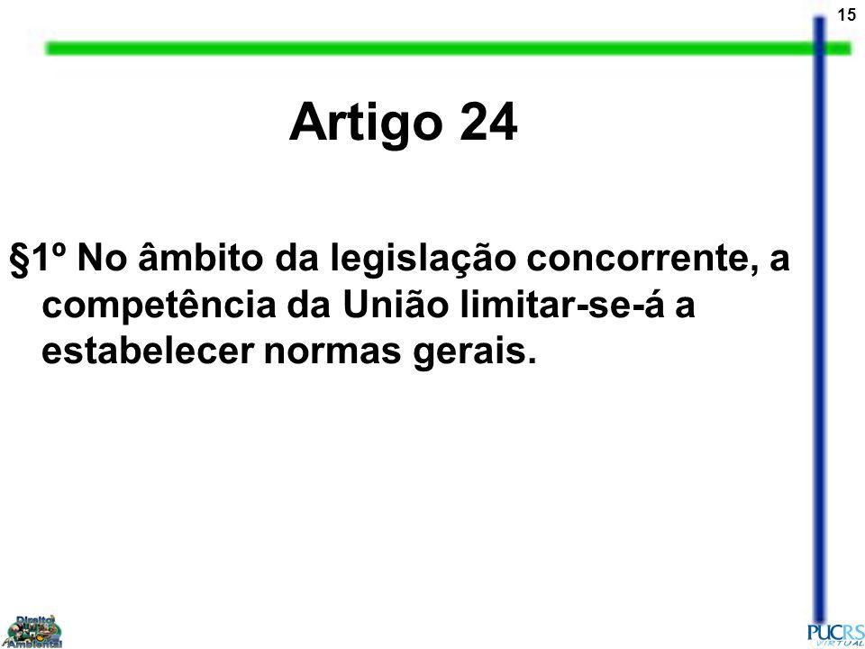 Artigo 24 §1º No âmbito da legislação concorrente, a competência da União limitar-se-á a estabelecer normas gerais.