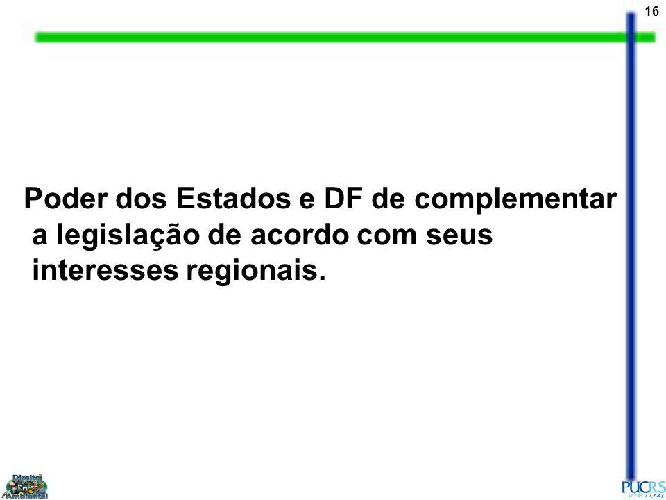 Poder dos Estados e DF de complementar a legislação de acordo com seus interesses regionais.
