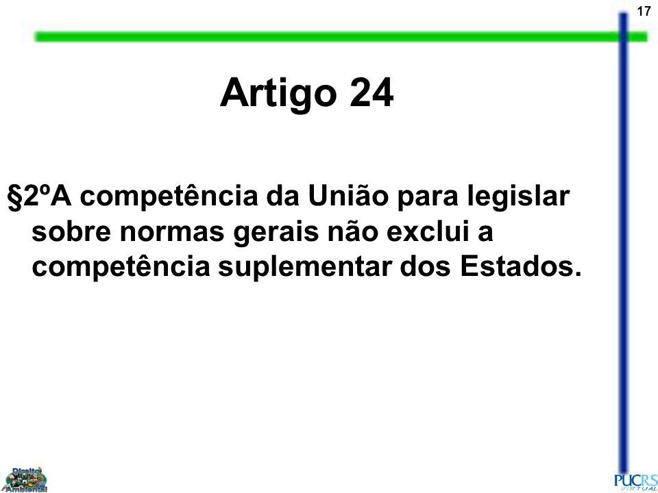 Artigo 24 §2ºA competência da União para legislar sobre normas gerais não exclui a competência suplementar dos Estados.