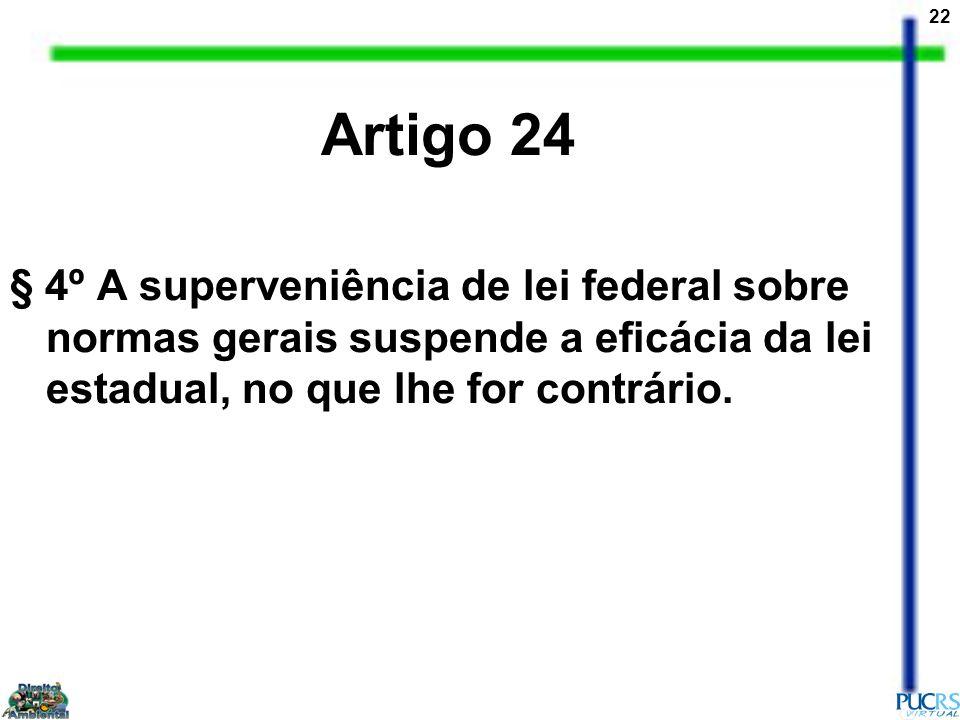 Artigo 24 § 4º A superveniência de lei federal sobre normas gerais suspende a eficácia da lei estadual, no que lhe for contrário.
