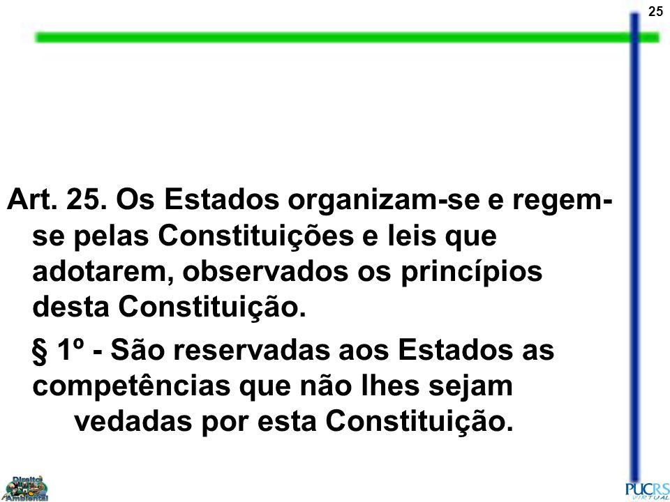 Art. 25. Os Estados organizam-se e regem-se pelas Constituições e leis que adotarem, observados os princípios desta Constituição.
