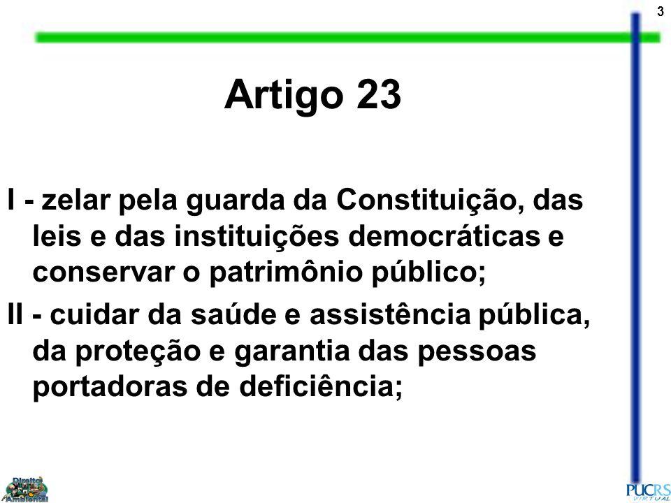 Artigo 23 I - zelar pela guarda da Constituição, das leis e das instituições democráticas e conservar o patrimônio público;