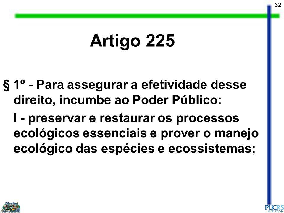 Artigo 225 § 1º - Para assegurar a efetividade desse direito, incumbe ao Poder Público: