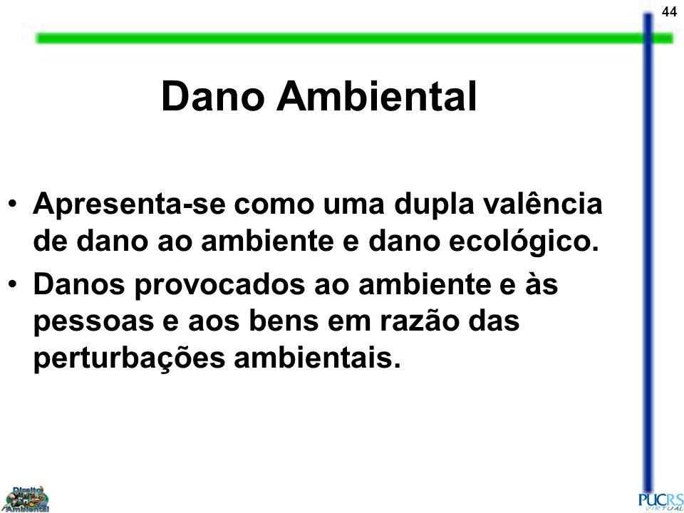Dano Ambiental Apresenta-se como uma dupla valência de dano ao ambiente e dano ecológico.