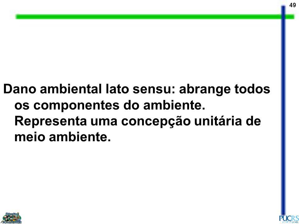 Dano ambiental lato sensu: abrange todos os componentes do ambiente