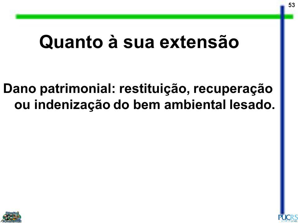 Quanto à sua extensão Dano patrimonial: restituição, recuperação ou indenização do bem ambiental lesado.
