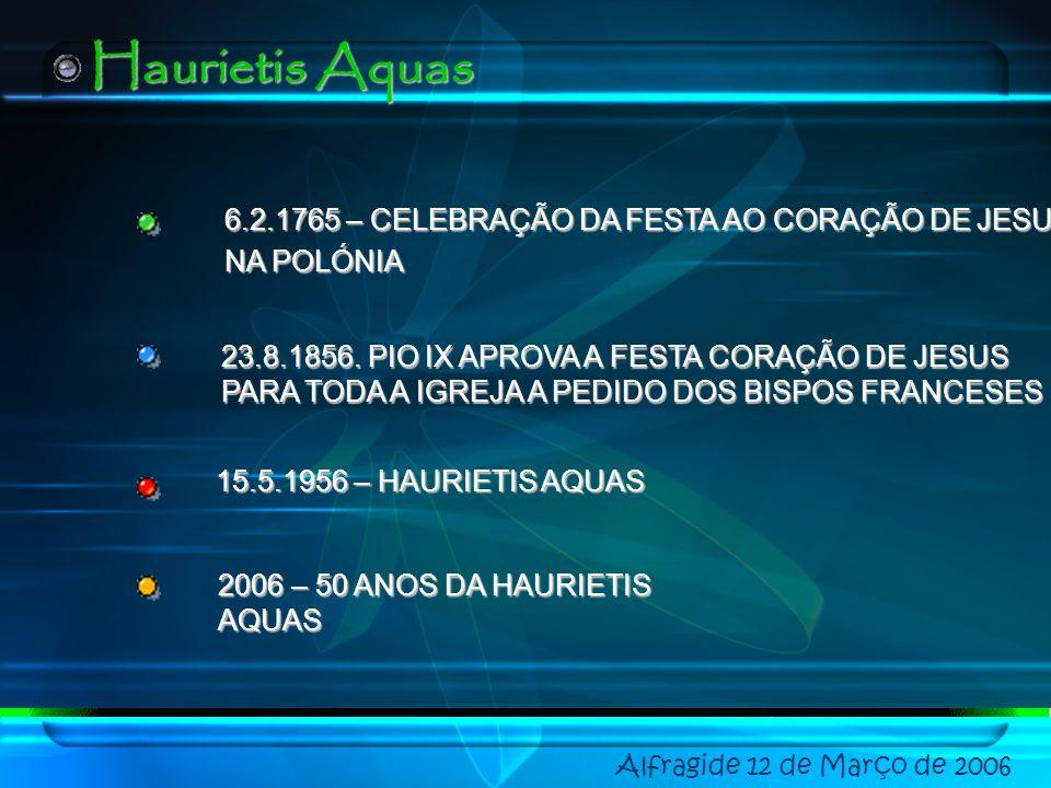 Haurietis Aquas 6.2.1765 – CELEBRAÇÃO DA FESTA AO CORAÇÃO DE JESUS