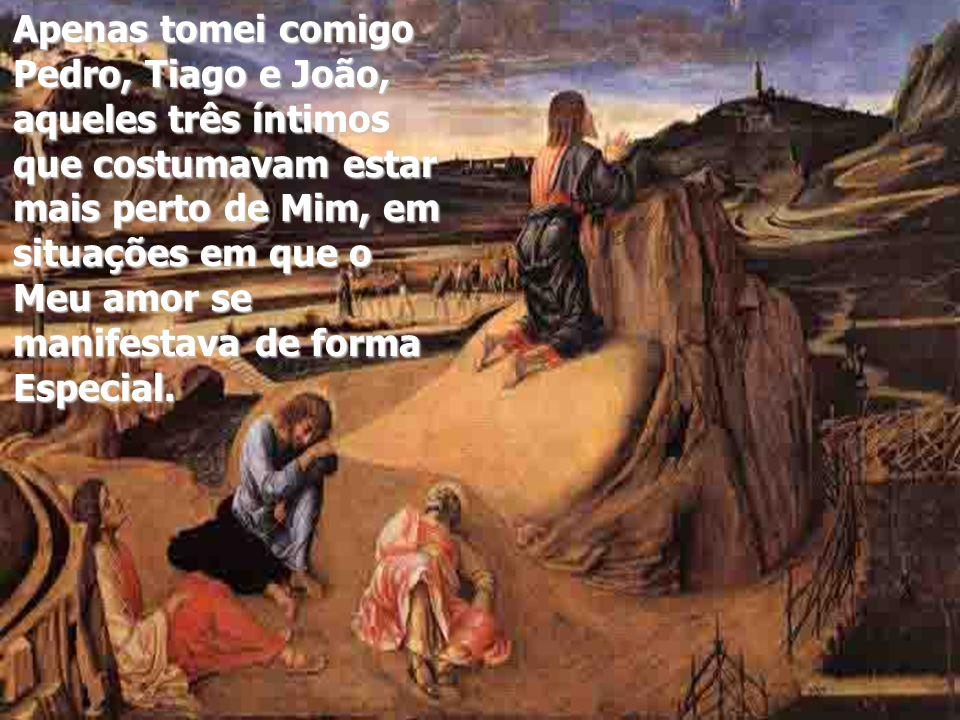 Apenas tomei comigo Pedro, Tiago e João, aqueles três íntimos que costumavam estar mais perto de Mim, em situações em que o Meu amor se manifestava de forma