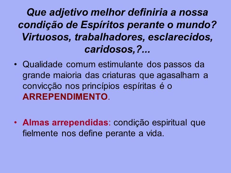 Que adjetivo melhor definiria a nossa condição de Espíritos perante o mundo Virtuosos, trabalhadores, esclarecidos, caridosos, ...