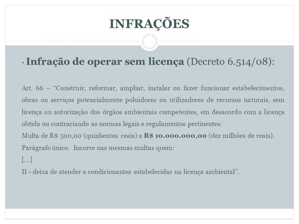 INFRAÇÕES Infração de operar sem licença (Decreto 6.514/08):