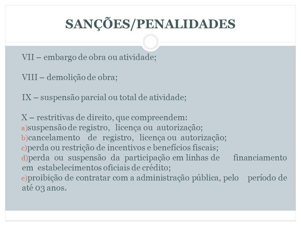 SANÇÕES/PENALIDADES VII – embargo de obra ou atividade;