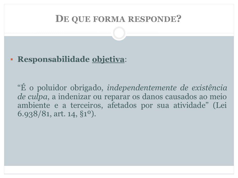 De que forma responde Responsabilidade objetiva: