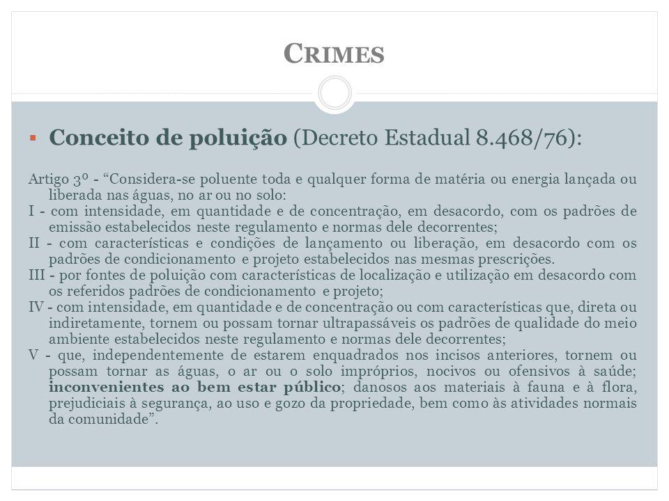 Crimes Conceito de poluição (Decreto Estadual 8.468/76):