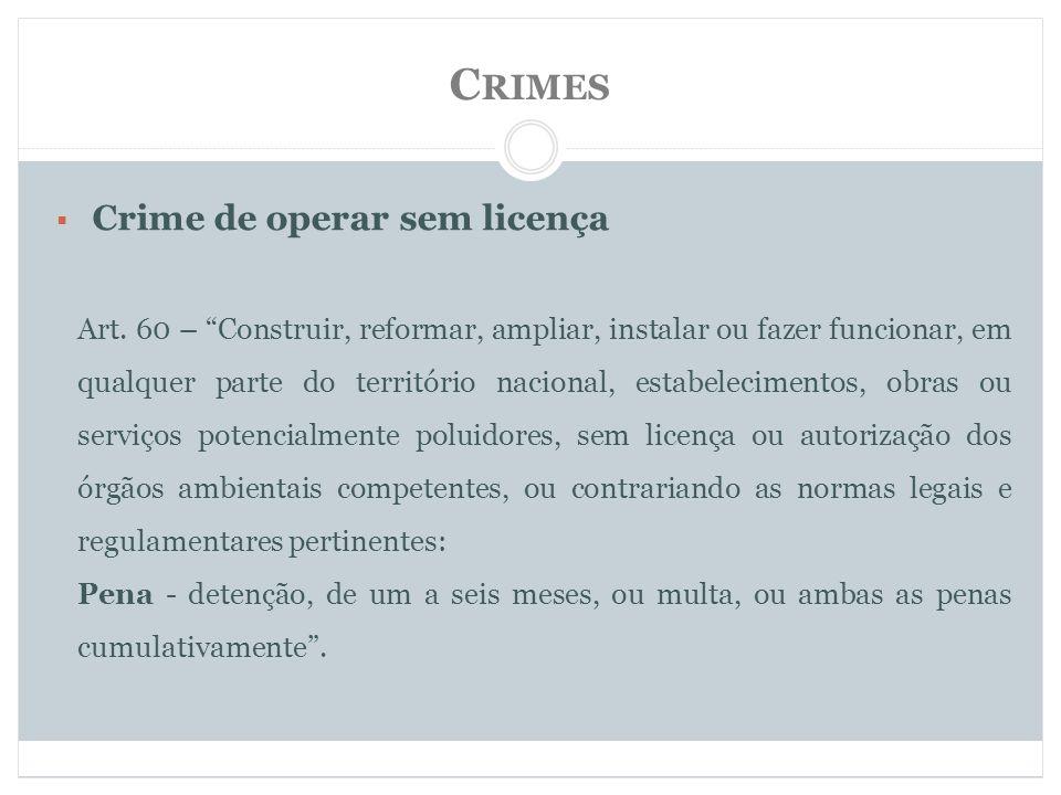 Crimes Crime de operar sem licença