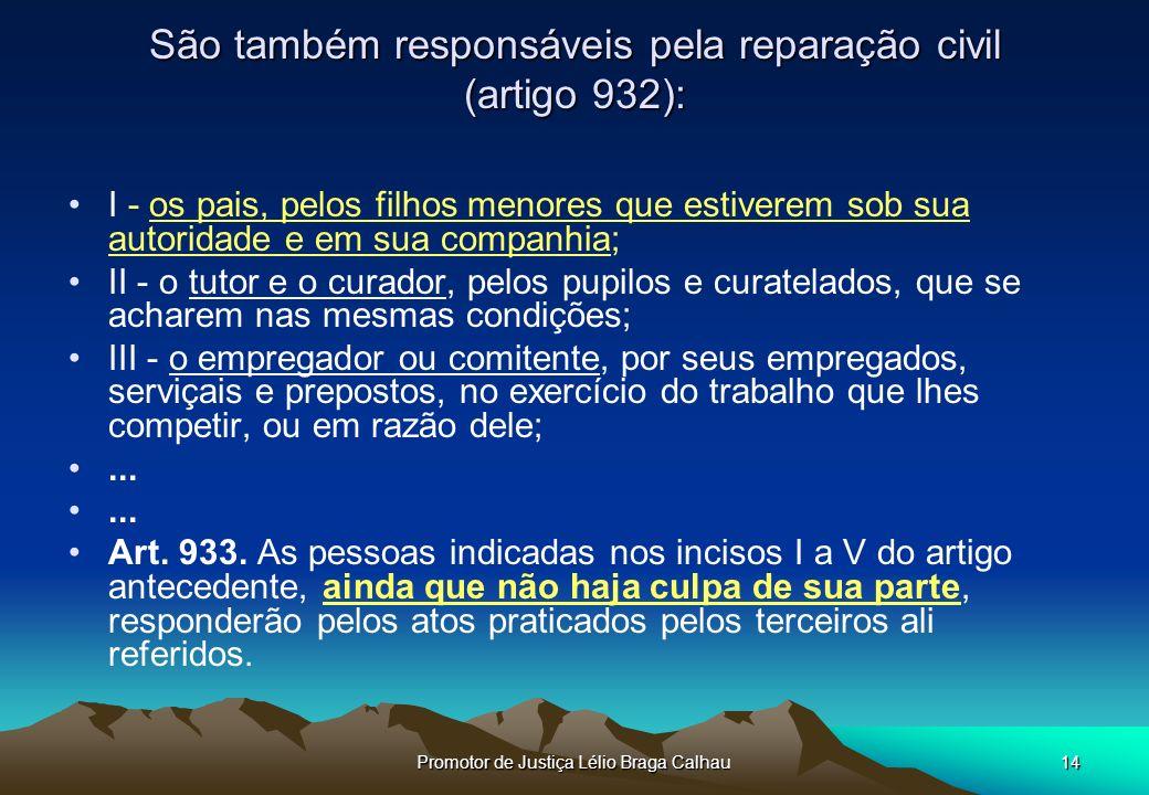 São também responsáveis pela reparação civil (artigo 932):