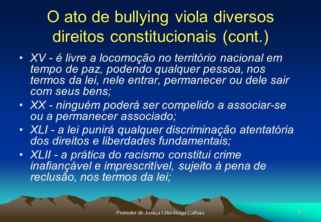O ato de bullying viola diversos direitos constitucionais (cont.)