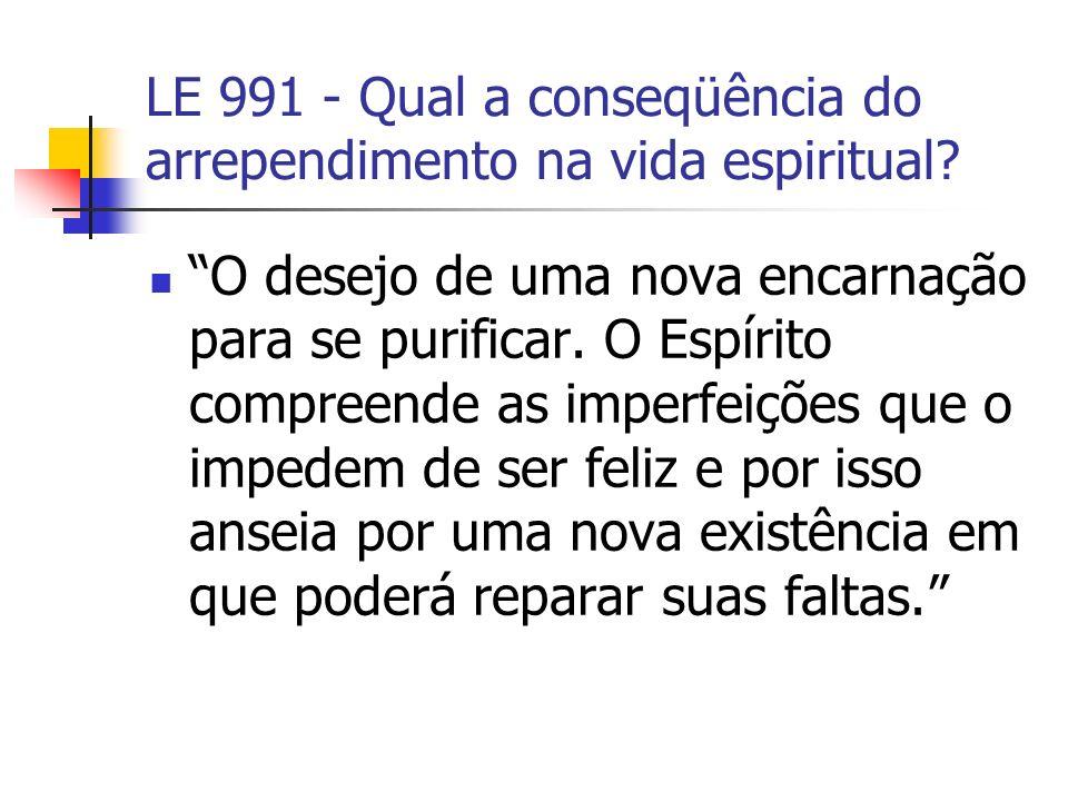 LE 991 - Qual a conseqüência do arrependimento na vida espiritual