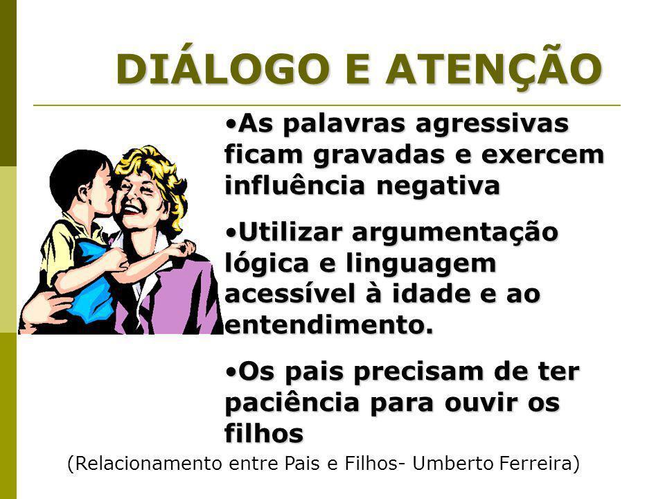 DIÁLOGO E ATENÇÃO As palavras agressivas ficam gravadas e exercem influência negativa.