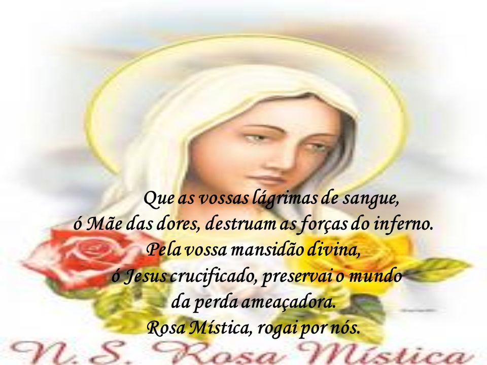 ó Jesus crucificado, preservai o mundo Rosa Mística, rogai por nós.