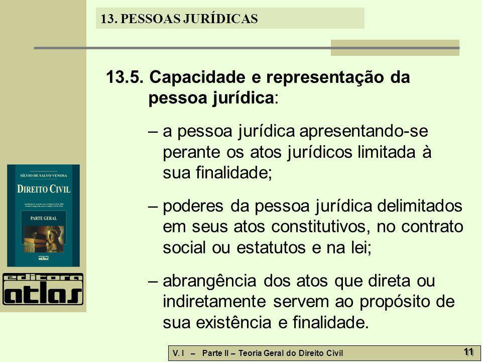 13.5. Capacidade e representação da pessoa jurídica: