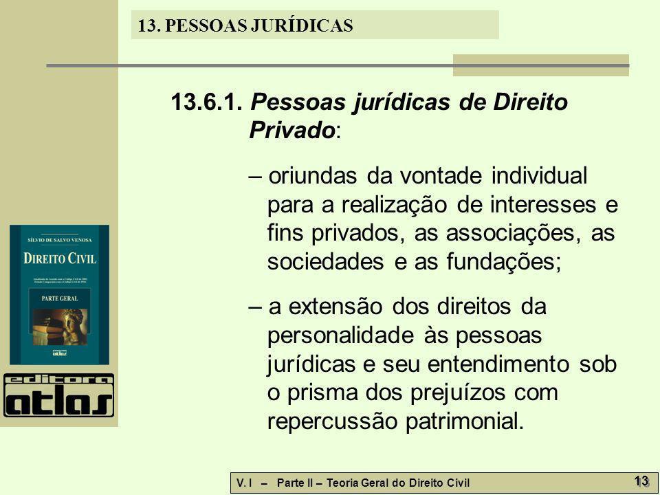 13.6.1. Pessoas jurídicas de Direito Privado: