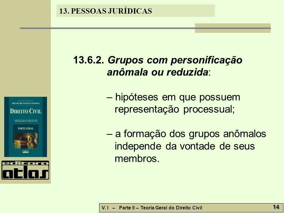 13.6.2. Grupos com personificação anômala ou reduzida:
