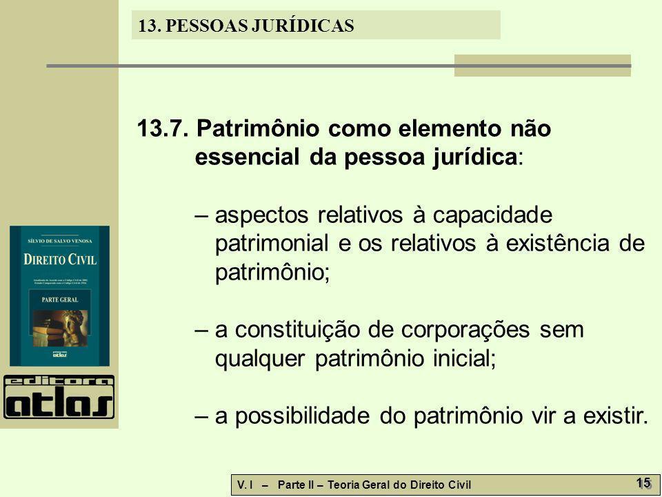 13.7. Patrimônio como elemento não essencial da pessoa jurídica:
