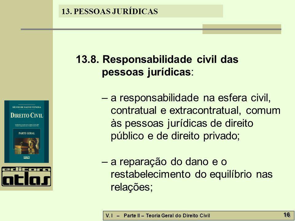 13.8. Responsabilidade civil das pessoas jurídicas: