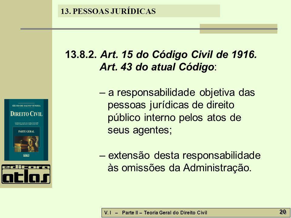 13.8.2. Art. 15 do Código Civil de 1916. Art. 43 do atual Código: