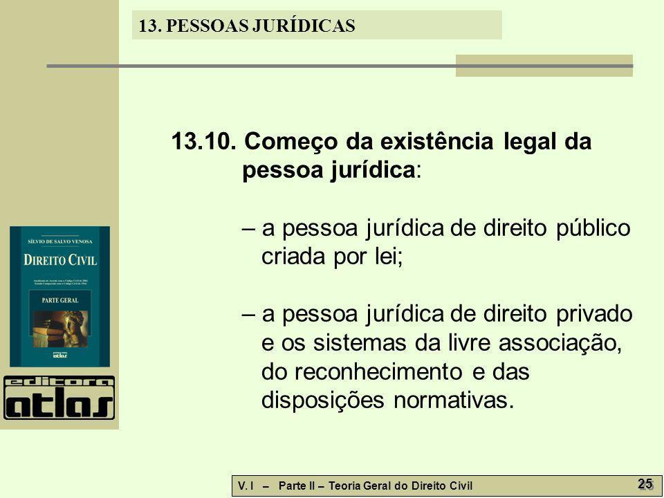 13.10. Começo da existência legal da pessoa jurídica: