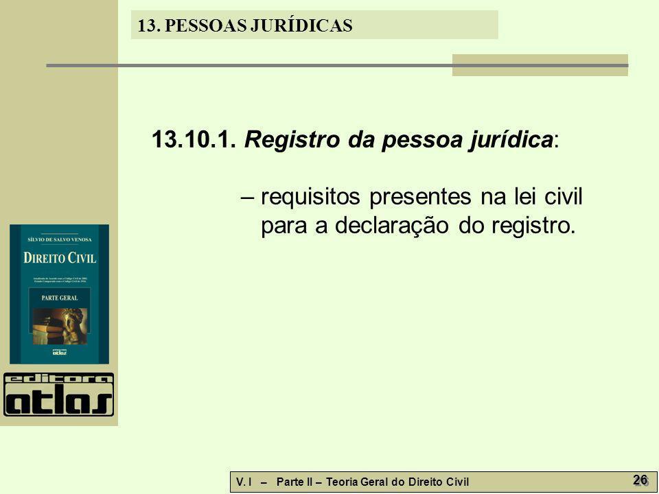 13.10.1. Registro da pessoa jurídica:
