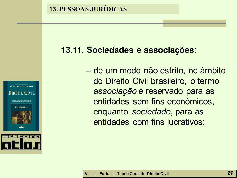 13.11. Sociedades e associações: