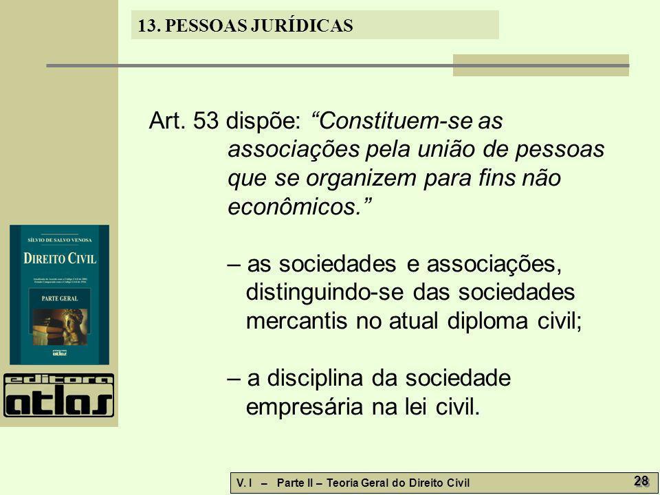 Art. 53 dispõe: Constituem-se as associações pela união de pessoas que se organizem para fins não econômicos.