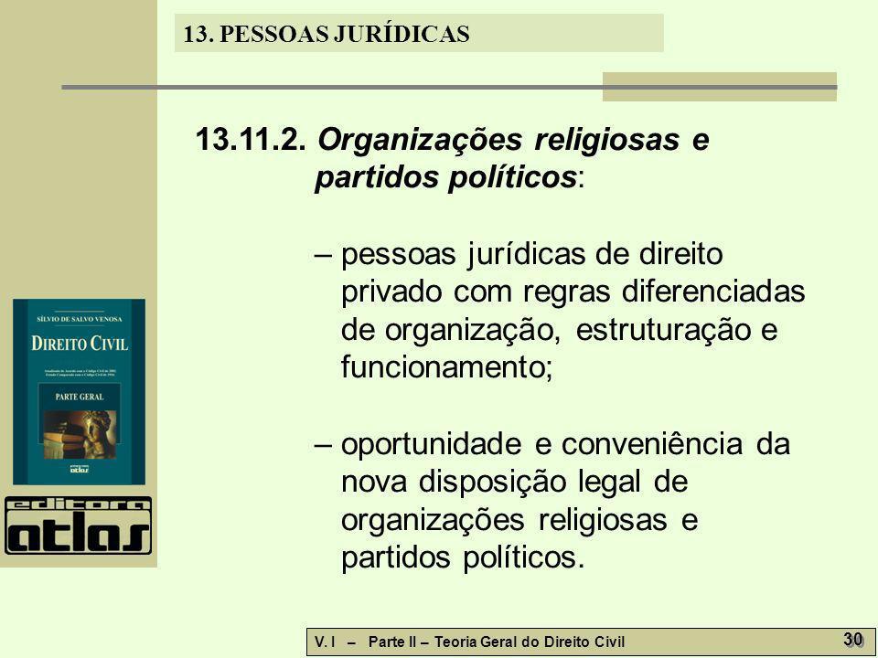 13.11.2. Organizações religiosas e partidos políticos: