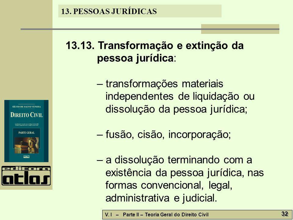13.13. Transformação e extinção da pessoa jurídica: