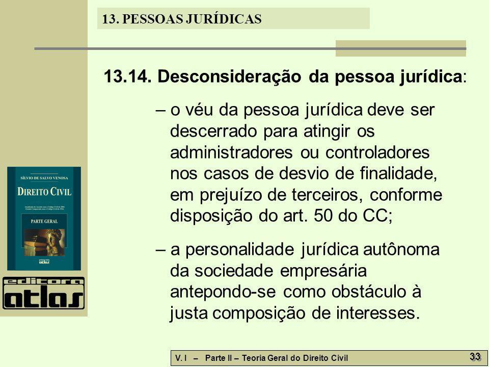 13.14. Desconsideração da pessoa jurídica: