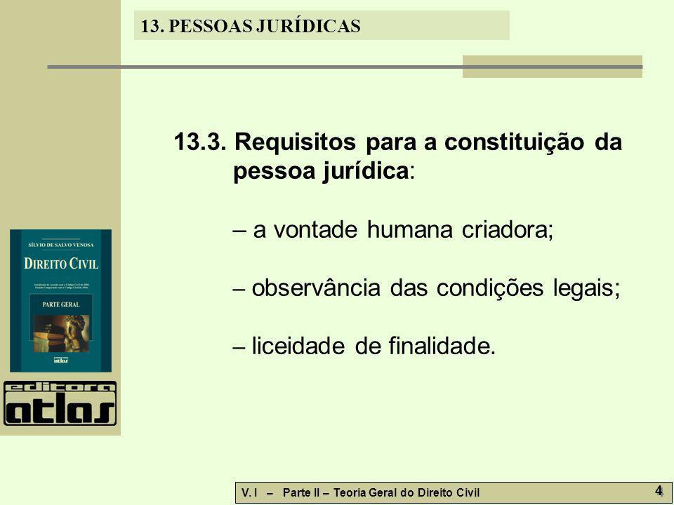 13.3. Requisitos para a constituição da pessoa jurídica: