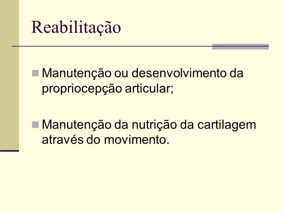 Reabilitação Manutenção ou desenvolvimento da propriocepção articular;