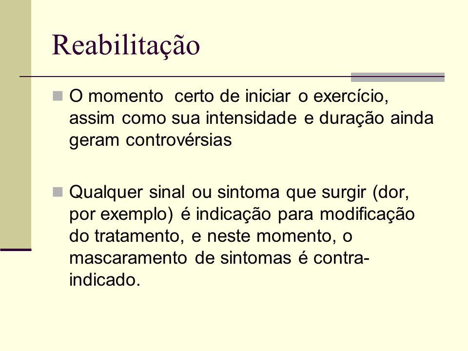 Reabilitação O momento certo de iniciar o exercício, assim como sua intensidade e duração ainda geram controvérsias.