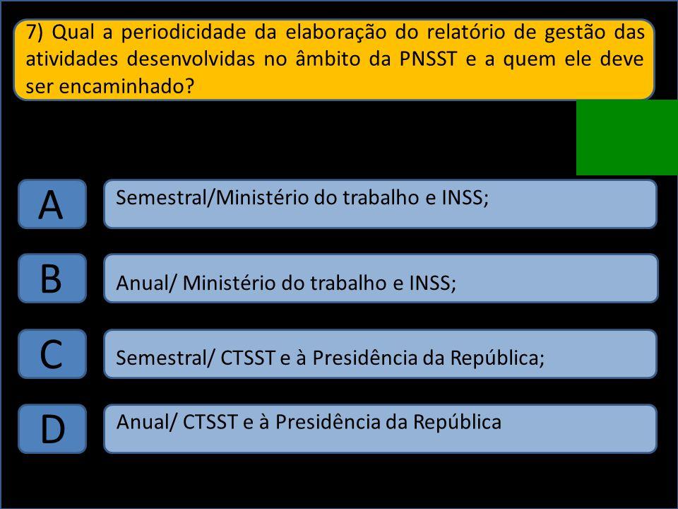 7) Qual a periodicidade da elaboração do relatório de gestão das atividades desenvolvidas no âmbito da PNSST e a quem ele deve ser encaminhado