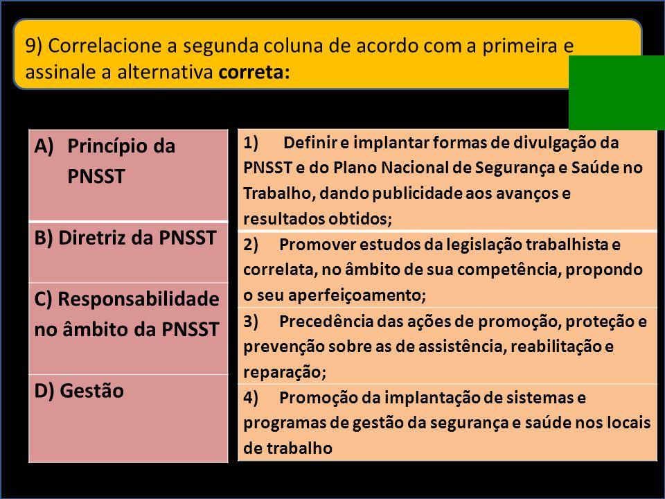 9) Correlacione a segunda coluna de acordo com a primeira e assinale a alternativa correta: