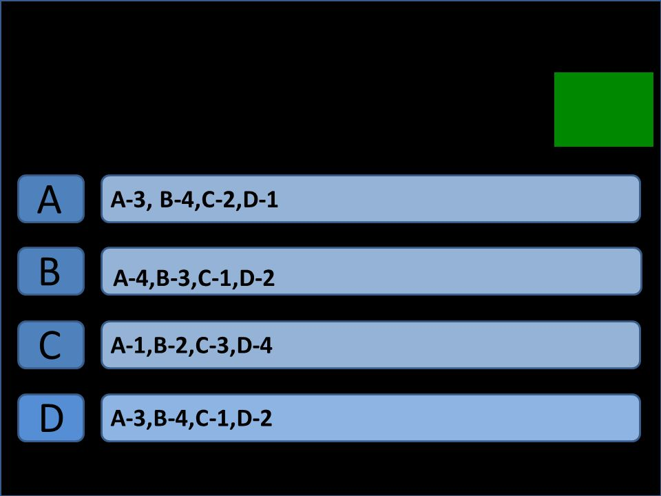 A B C D A-3, B-4,C-2,D-1 A-4,B-3,C-1,D-2 A-1,B-2,C-3,D-4