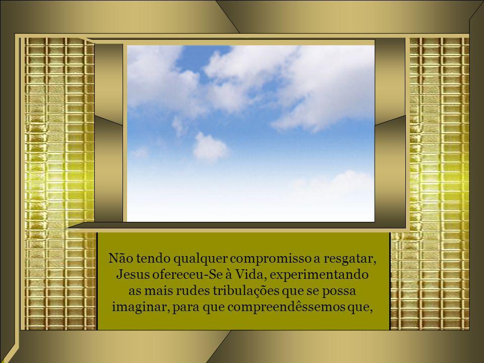 Não tendo qualquer compromisso a resgatar, Jesus ofereceu-Se à Vida, experimentando as mais rudes tribulações que se possa imaginar, para que compreendêssemos que,