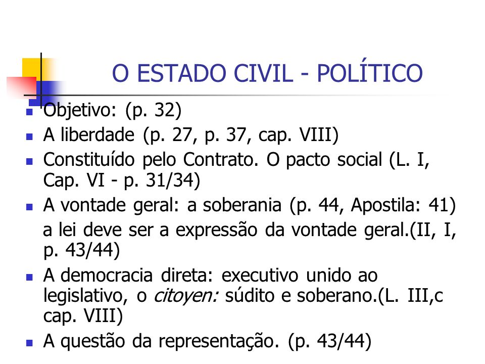 O ESTADO CIVIL - POLÍTICO
