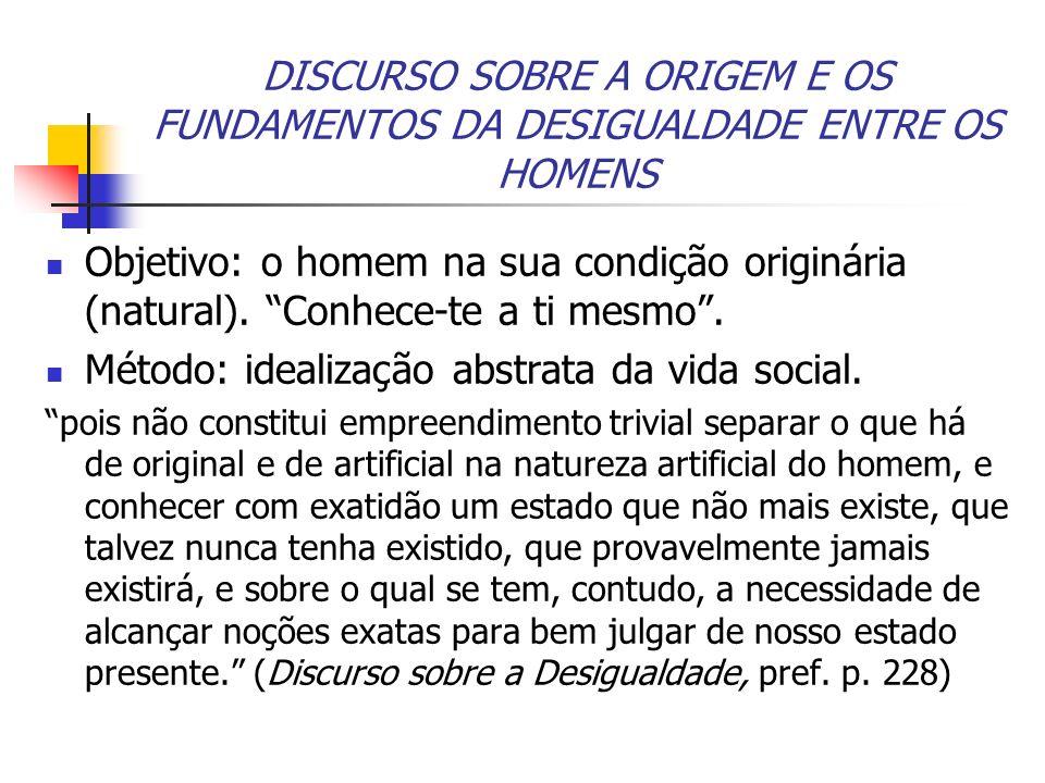 Método: idealização abstrata da vida social.