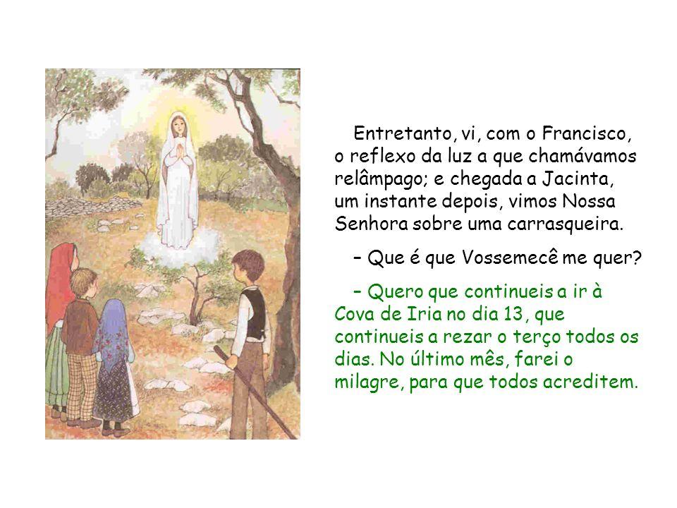 Entretanto, vi, com o Francisco, o reflexo da luz a que chamávamos relâmpago; e chegada a Jacinta, um instante depois, vimos Nossa Senhora sobre uma carrasqueira.
