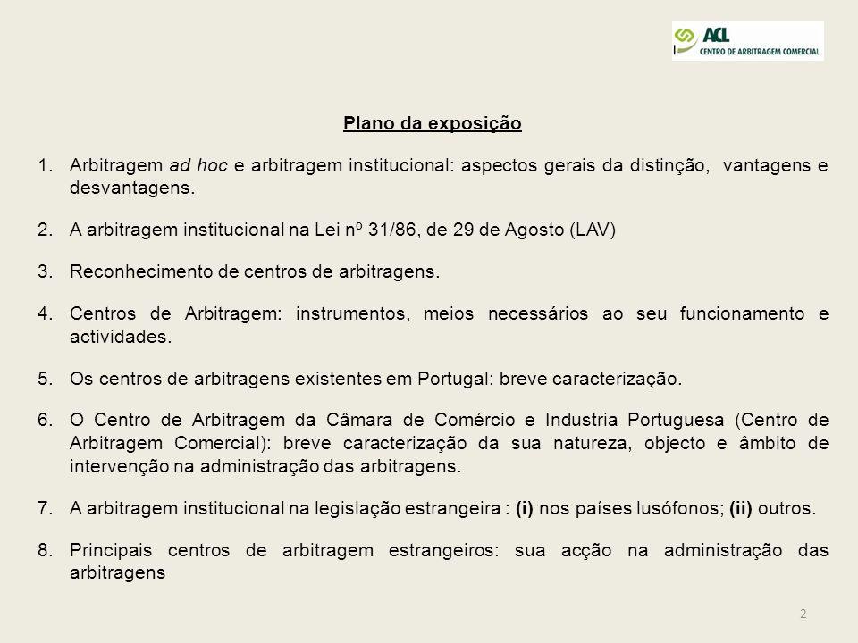 Plano da exposição Arbitragem ad hoc e arbitragem institucional: aspectos gerais da distinção, vantagens e desvantagens.