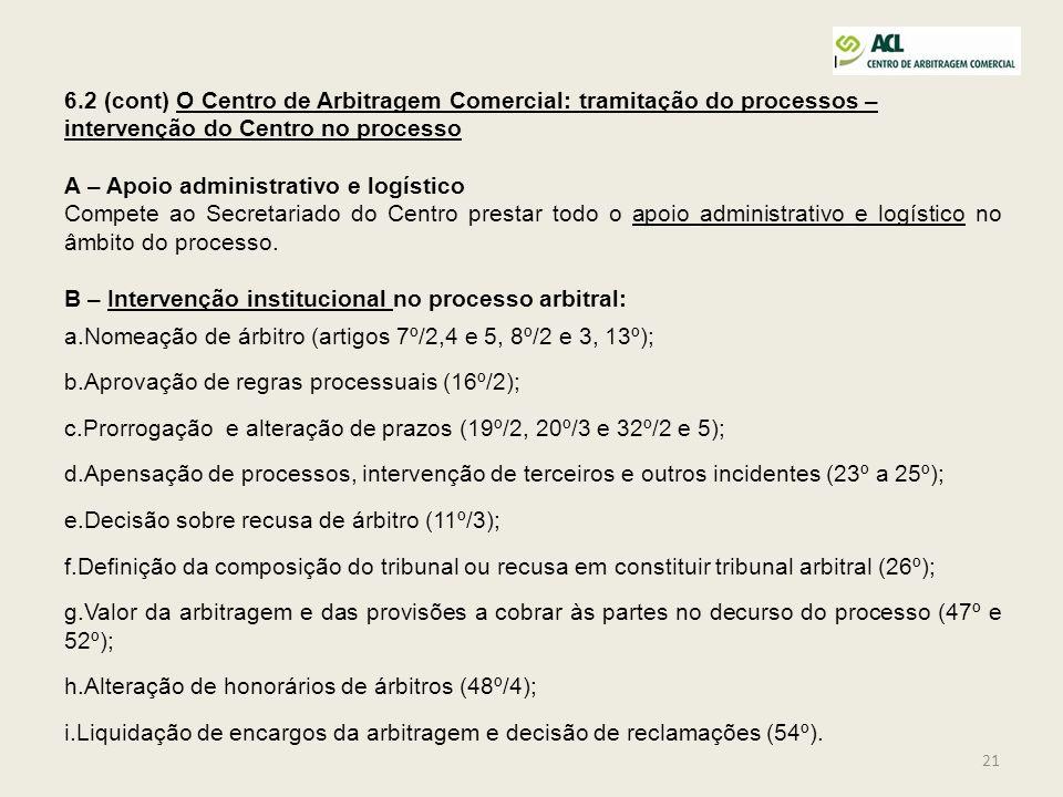 6.2 (cont) O Centro de Arbitragem Comercial: tramitação do processos – intervenção do Centro no processo