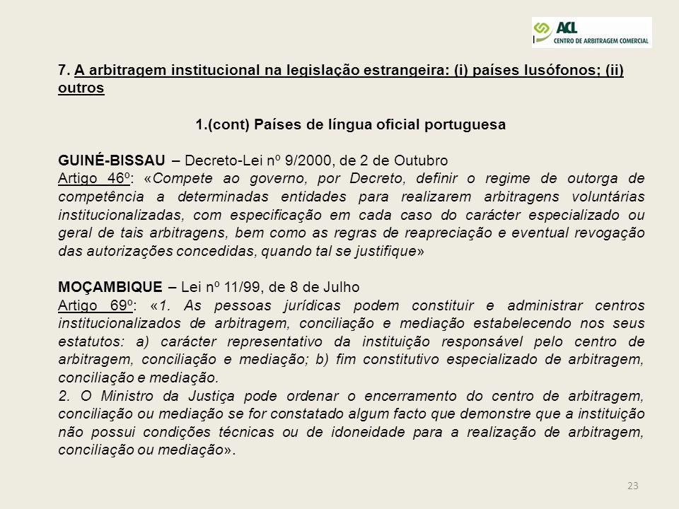 (cont) Países de língua oficial portuguesa