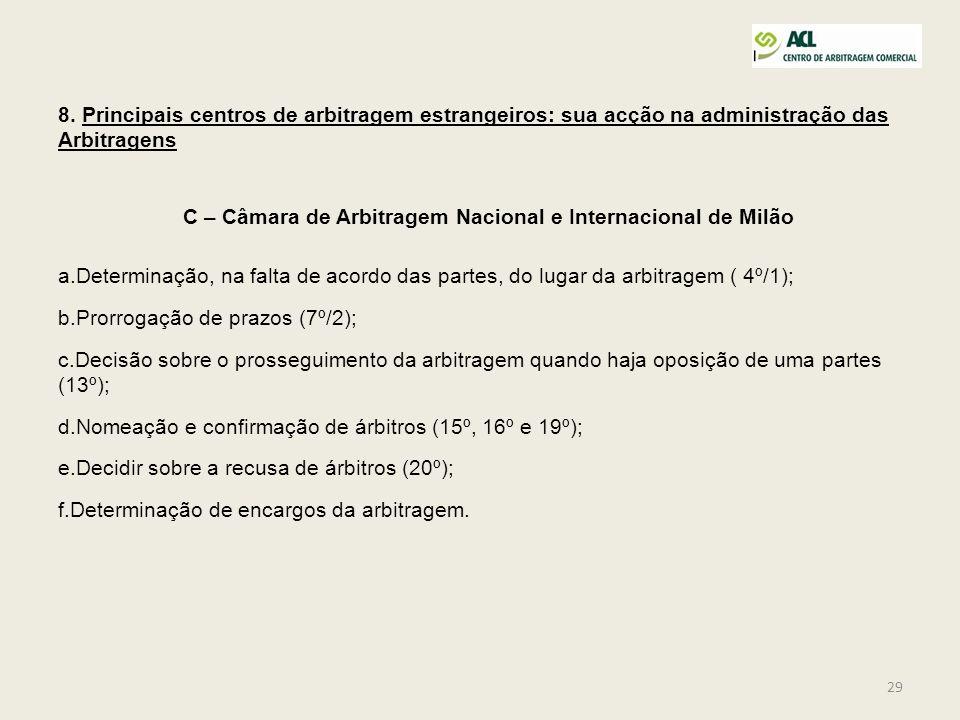 C – Câmara de Arbitragem Nacional e Internacional de Milão